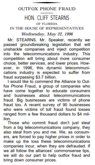 Freddie Fox 1996 Congressional Record